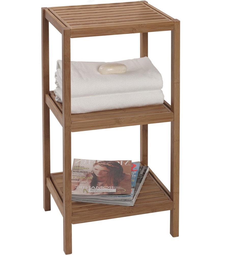 Bamboo bathroom shelves